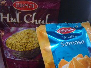 Spiced lentils and samosas