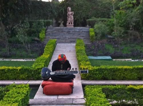 Musician in spa garden