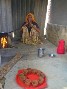 Cardamom tea being offered