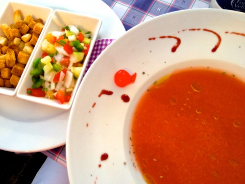 Gazpacho with condiments