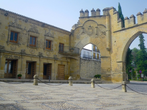 Old city walls and gate of Baeza