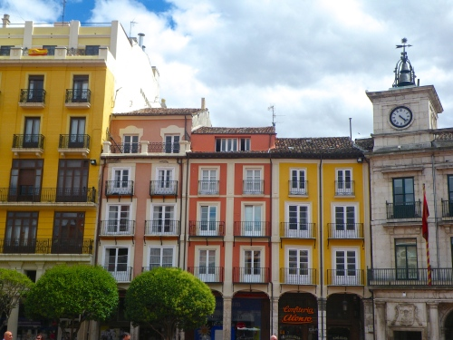 Burgos - a square with colourful houses