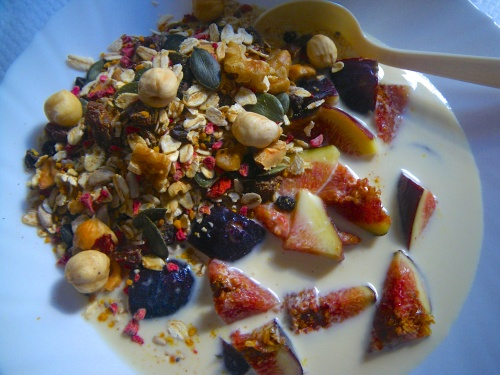 My breakfast of figs, cherries, own muesli, almond cultured milk