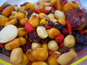 My giant corn kernels, nuts and goji berry snack