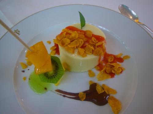 Vegan dessert of soy cream caramel