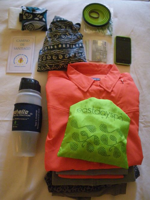 The clothes I packed for the Camino