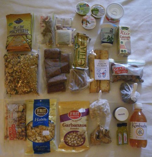 Food I packed for the Camino: protein, dry biscuits, snacks etc.