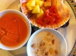 Starter of two little bowls of soup: Gazpacho and Ajo Blanco with condiments