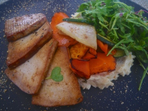 Tofu steaks with parsnip purée