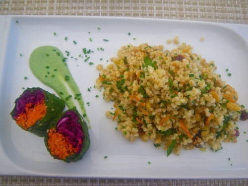Vegetable sushi, wheat tabuleh with pistachios