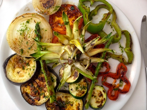 Grilled vegetables at the beach restaurant