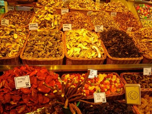 Dry mushrooms, licorice sticks and dried fruits