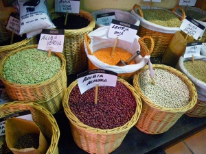 Baskets of dried pulses - a vegan's delight